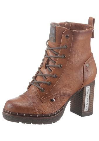 Mustang Shoes Schnürstiefelette, mit Nieten am Plateau kaufen