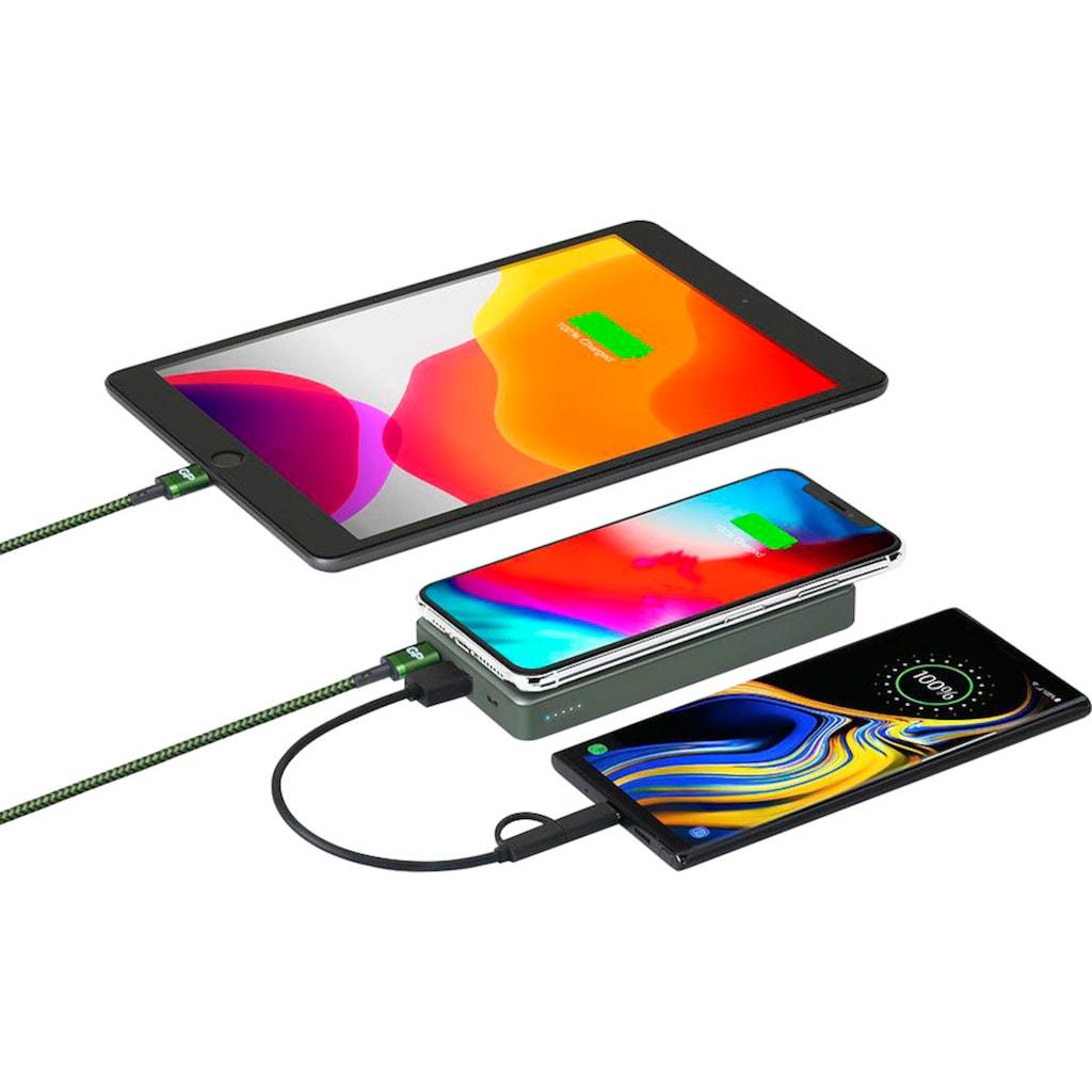 GP Batteries Batterie-Ladegerät »Drahtloses Powerbank GP Q10A grau 10.000 mAh 2 USB-Anschlüsse USB 3A Type C«