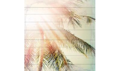 QUEENCE Holzbild »Sonnige Palmen«, 40x40 cm Echtholz kaufen