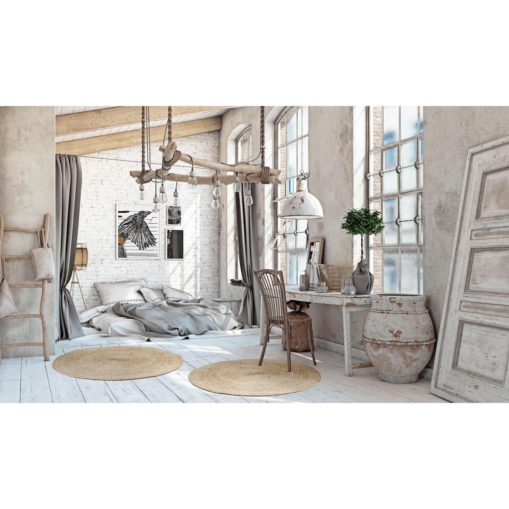 LUXOR living Teppich »Mamda 2«, rund, 4 mm Höhe, 100% Naturfaser, handgearbeitet, Boho-Style, Wohnzimmer