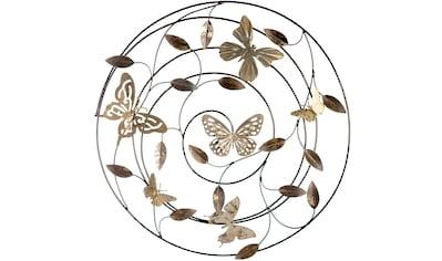 GILDE Wanddekoobjekt »Wandrelief Farfalle grau/braun/goldfarben«, Wanddeko, Ø 50 cm, aus Metall, mit Blättern & Schmetterlingen, Wohnzimmer kaufen