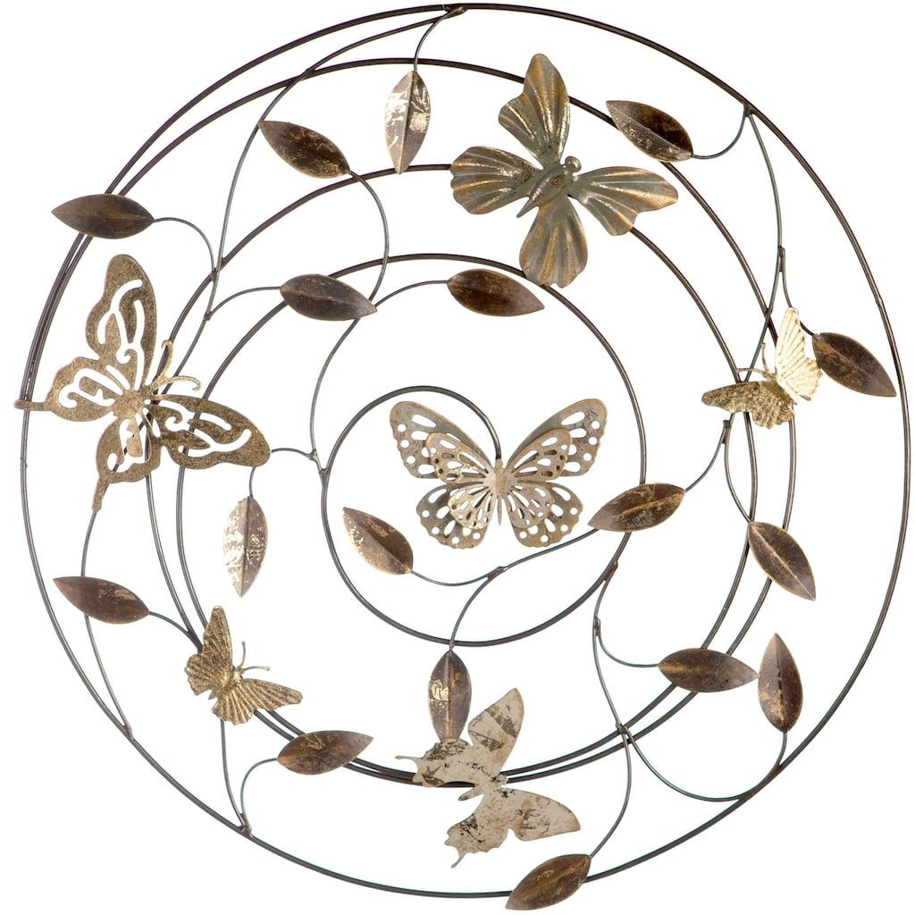 GILDE Wanddekoobjekt »Wandrelief Farfalle grau/braun/goldfarben«, Wanddeko, Ø 50 cm, aus Metall, mit Blättern & Schmetterlingen, Wohnzimmer