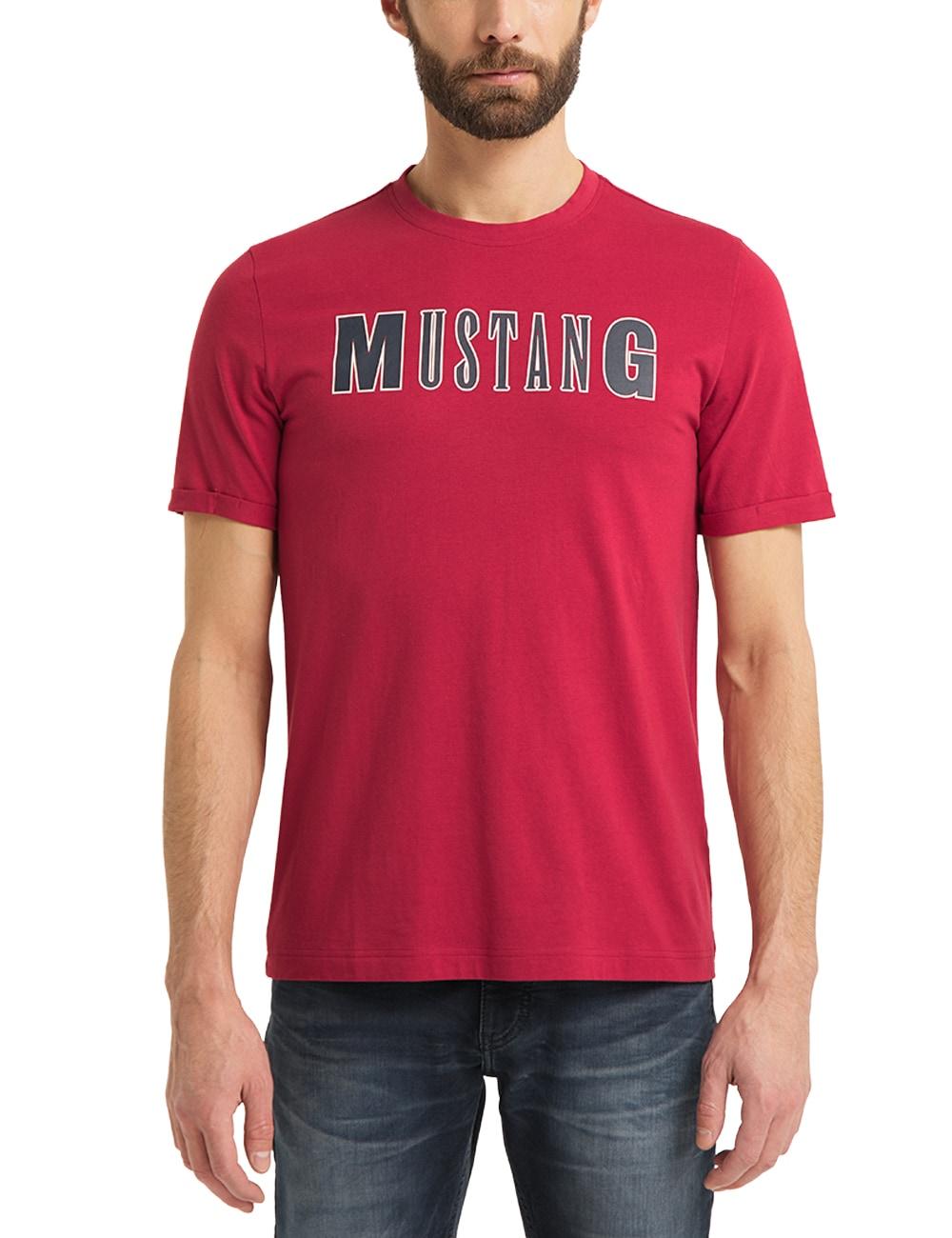 MUSTANG T-Shirt Alex C LOGO Tee, rot Herren Mustang