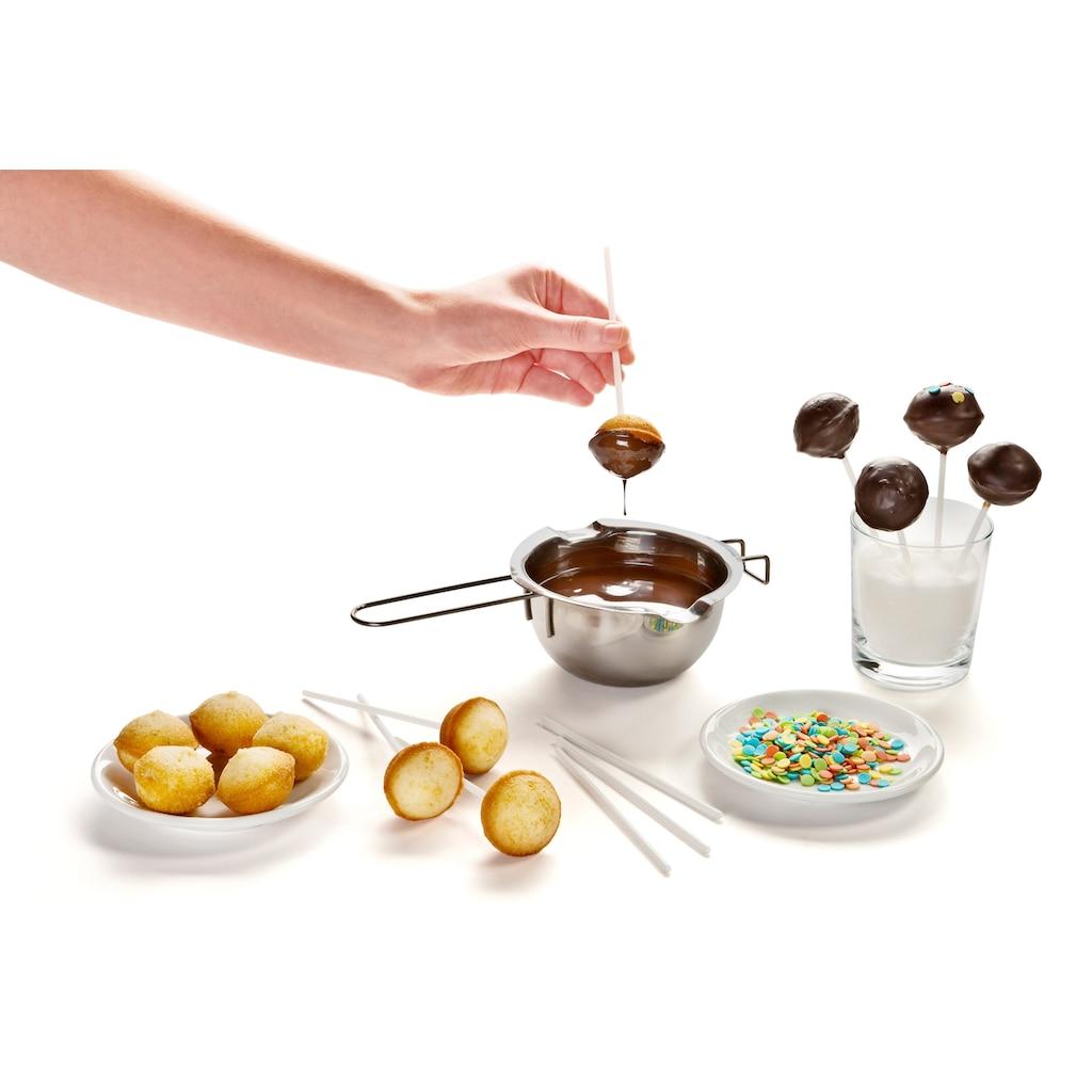 Zenker Cake-Pop-Form, (Set, 5 St., Set aus einem Unter- und Oberbackblech, 2 Halteklammern, 48 Stielen und 48 Klarsichtbeuteln), antihaftbeschichtet