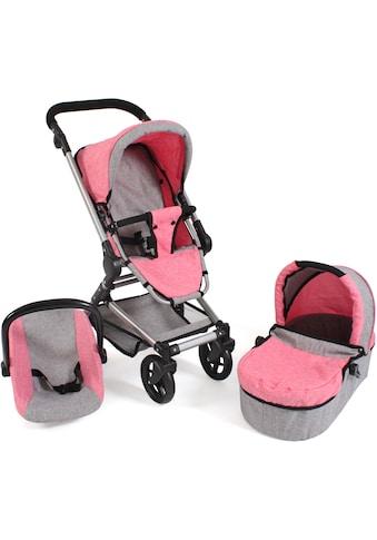 CHIC2000 Kombi-Puppenwagen »Fides 3in1, melange pink«, mit Babywanne, Sportsitz und... kaufen