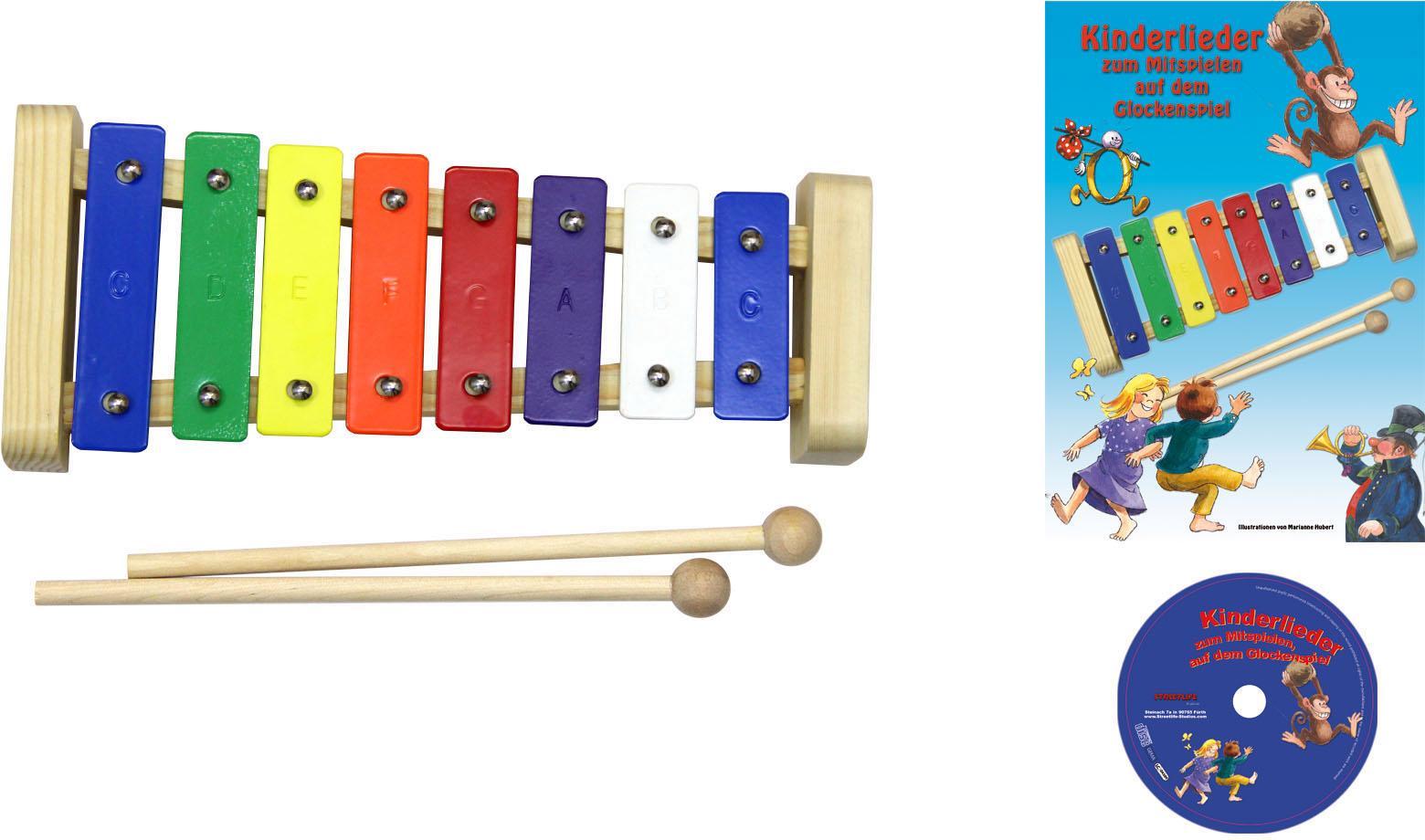 Clifton Spielzeug-Musikinstrument Metallophon, mit 8 Tönen und Kinderlieder CD, Karaoke CD Heft bunt Musikspielzeug Musikinstrumente