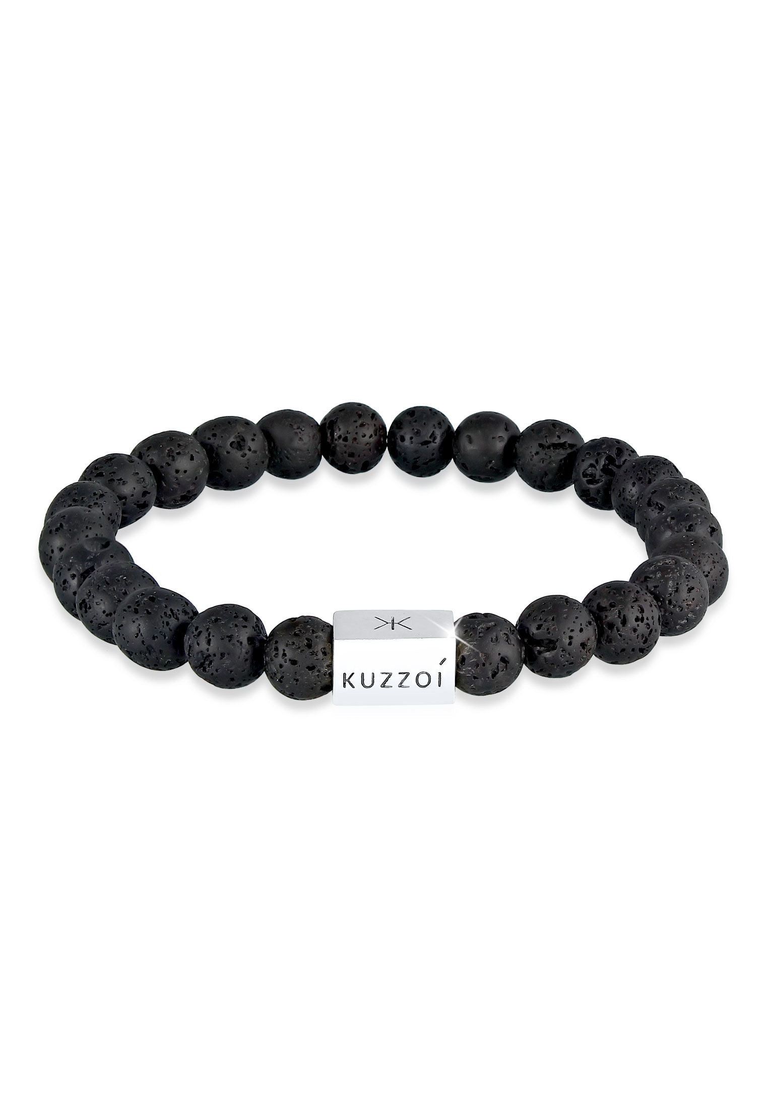 kuzzoi -  Armband Herren Lava Edelstein Bead Rechteck 925 Silber