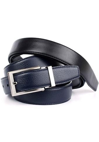 Anthoni Crown Ledergürtel, Wendegürtel in dunkelblau und schwarz kaufen