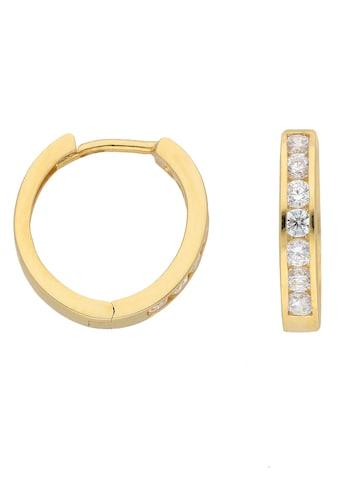 Adelia´s Paar Creolen »333 Gold Ohrringe / Creolen mit Zirkonia Ø 13,6 mm«, Goldschmuck für Damen kaufen