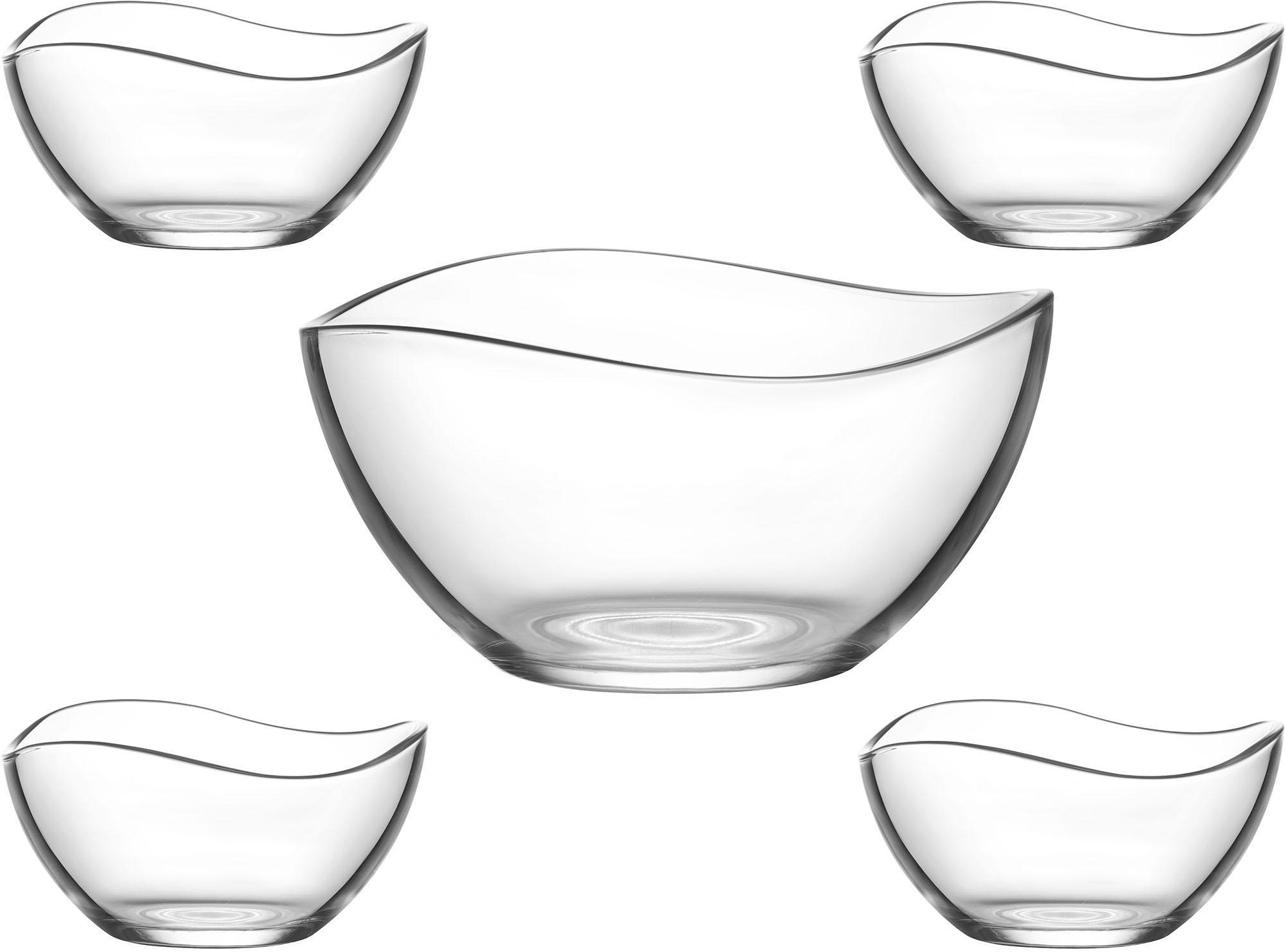 van Well Schüssel Malaga, Glas, (Set 5-tlg.) farblos Glasschüsseln Gläser Glaswaren Haushaltswaren Schüsseln