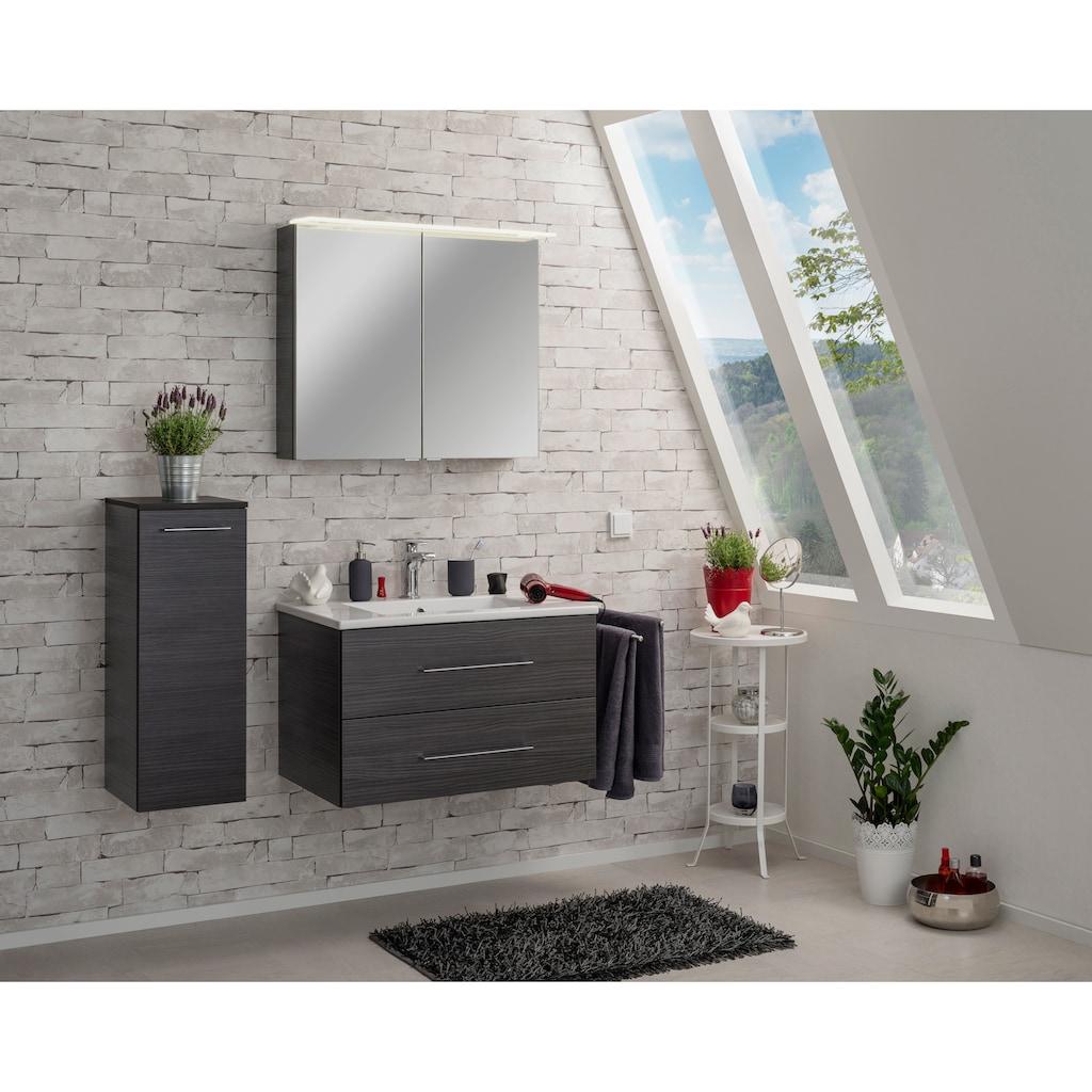 FACKELMANN Spiegelschrank »PE 80 - Dark-Oak«, Breite 80 cm, Badmöbel 2 Türen, LED-Badspiegelschrank doppelseitig verspiegelt