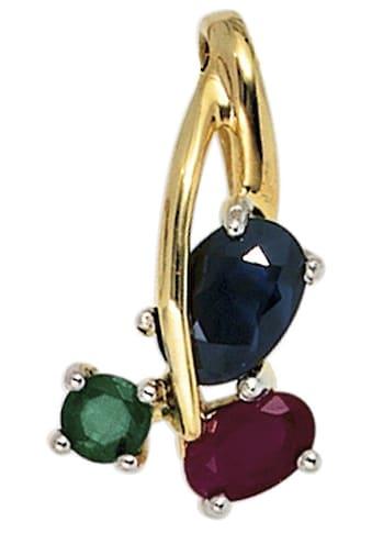 JOBO Kettenanhänger, 585 Gold bicolor mit Rubin Safir Smaragd kaufen