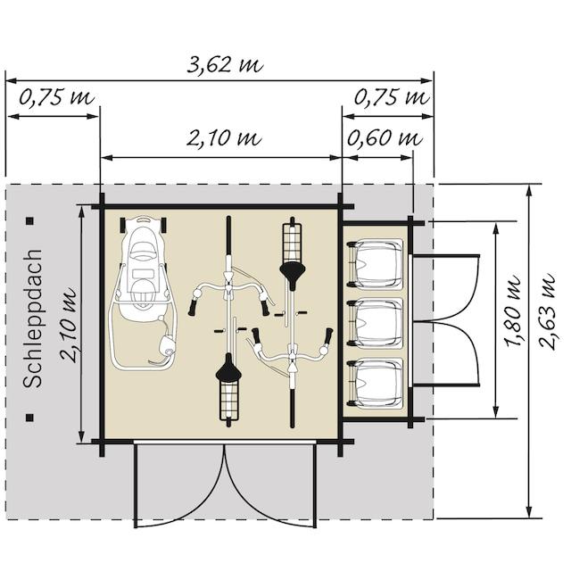 Kiehn-Holz Set: Gartenhaus »Schwarze Berge«, BxT: 362x263 cm, Anbauschrank, Schleppdach + Fußboden