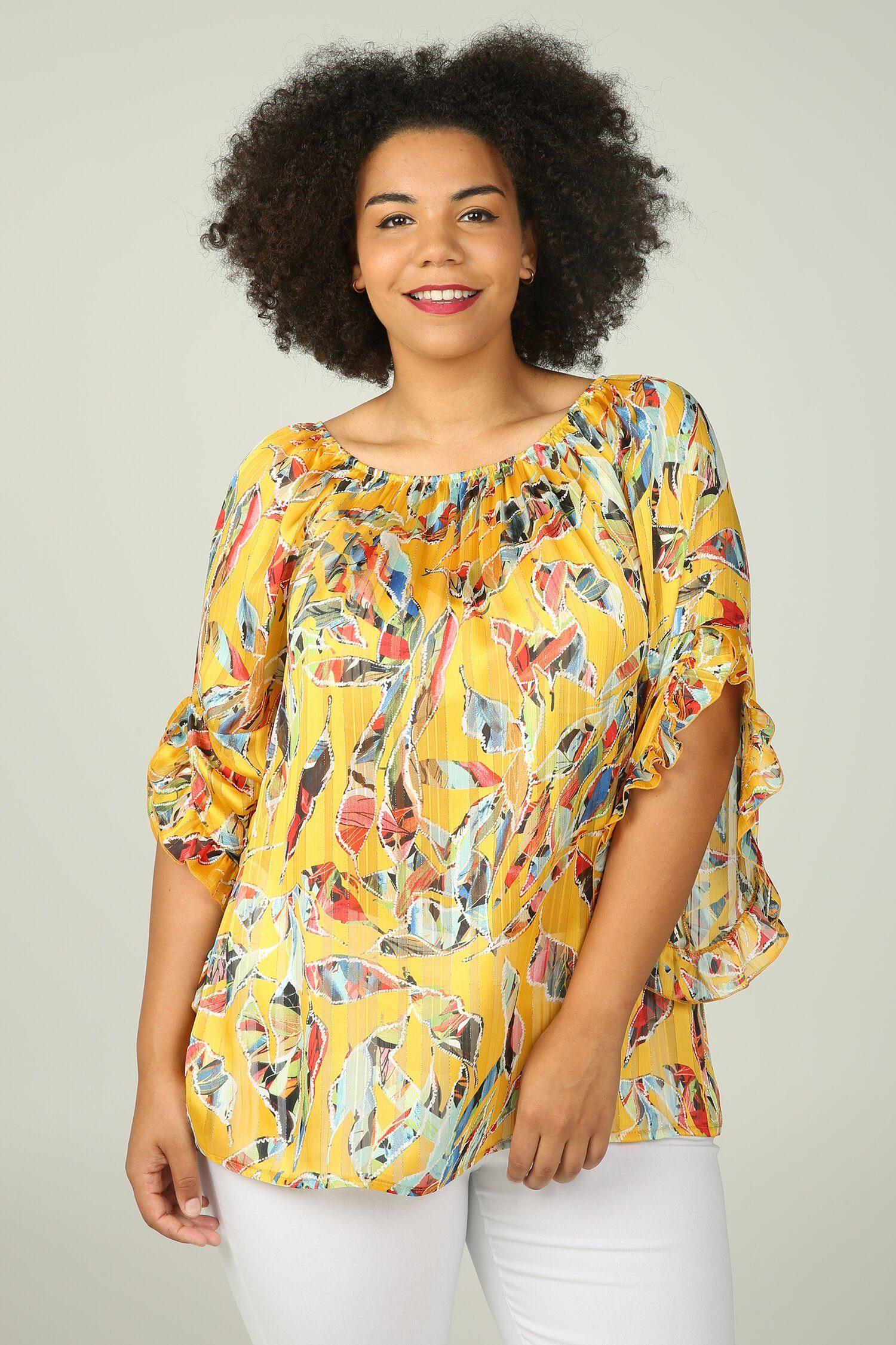 Paprika Carmenbluse Bluse mit elastischem Ausschnitt und bunten Blattmuster-Print