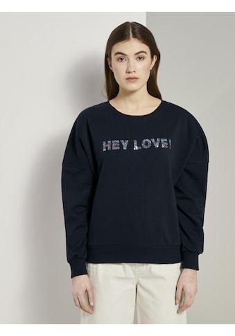 TOM TAILOR Denim Sweater »Sweatshirt mit Pailletten - Schriftzug« kaufen