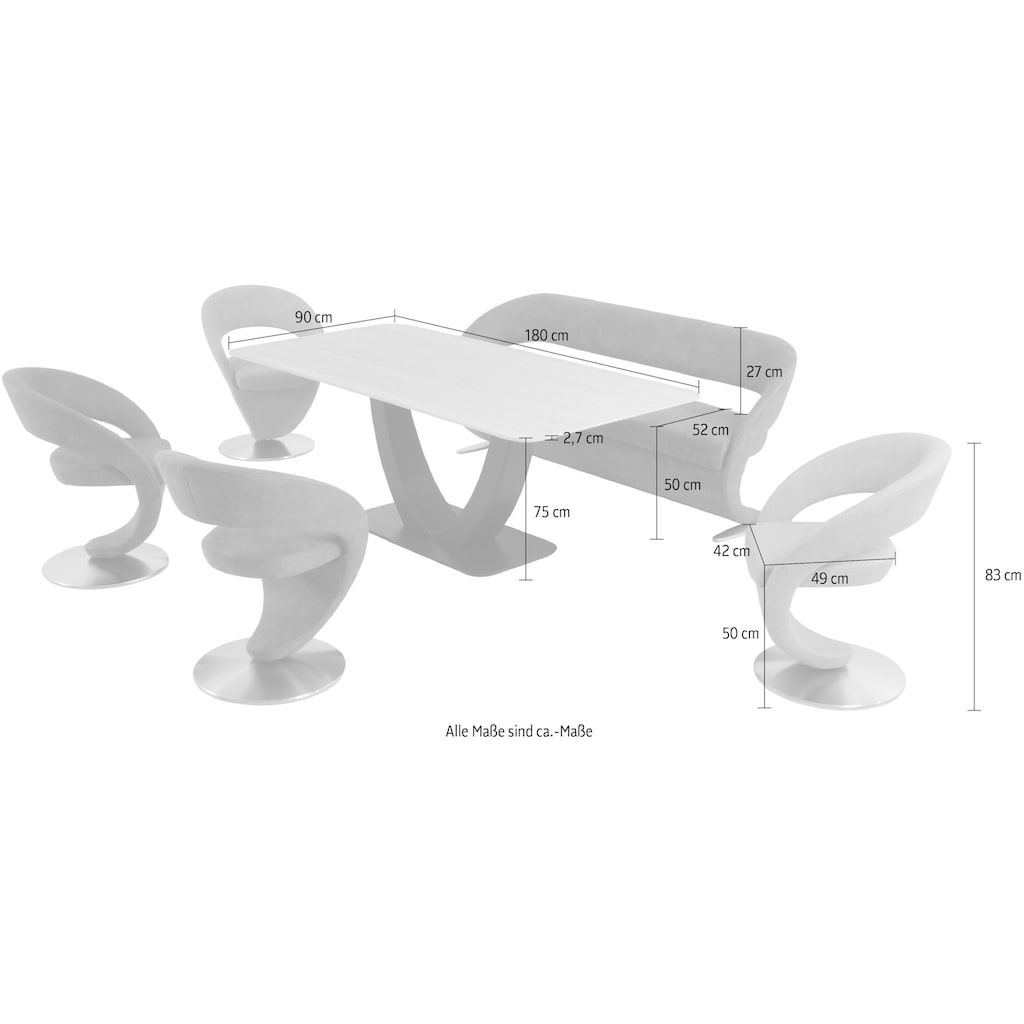 K+W Komfort & Wohnen Essgruppe »Wave«, (Set, 6 tlg.), Design-Solobank mit 4 Design-Drehstühlen in zwei verschiedenen Farben und Tisch in 180x90cm