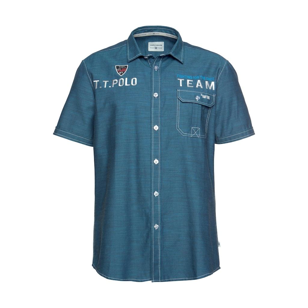 TOM TAILOR Polo Team Kurzarmhemd, mit Stickerei/ Print und Badge auf der Brust