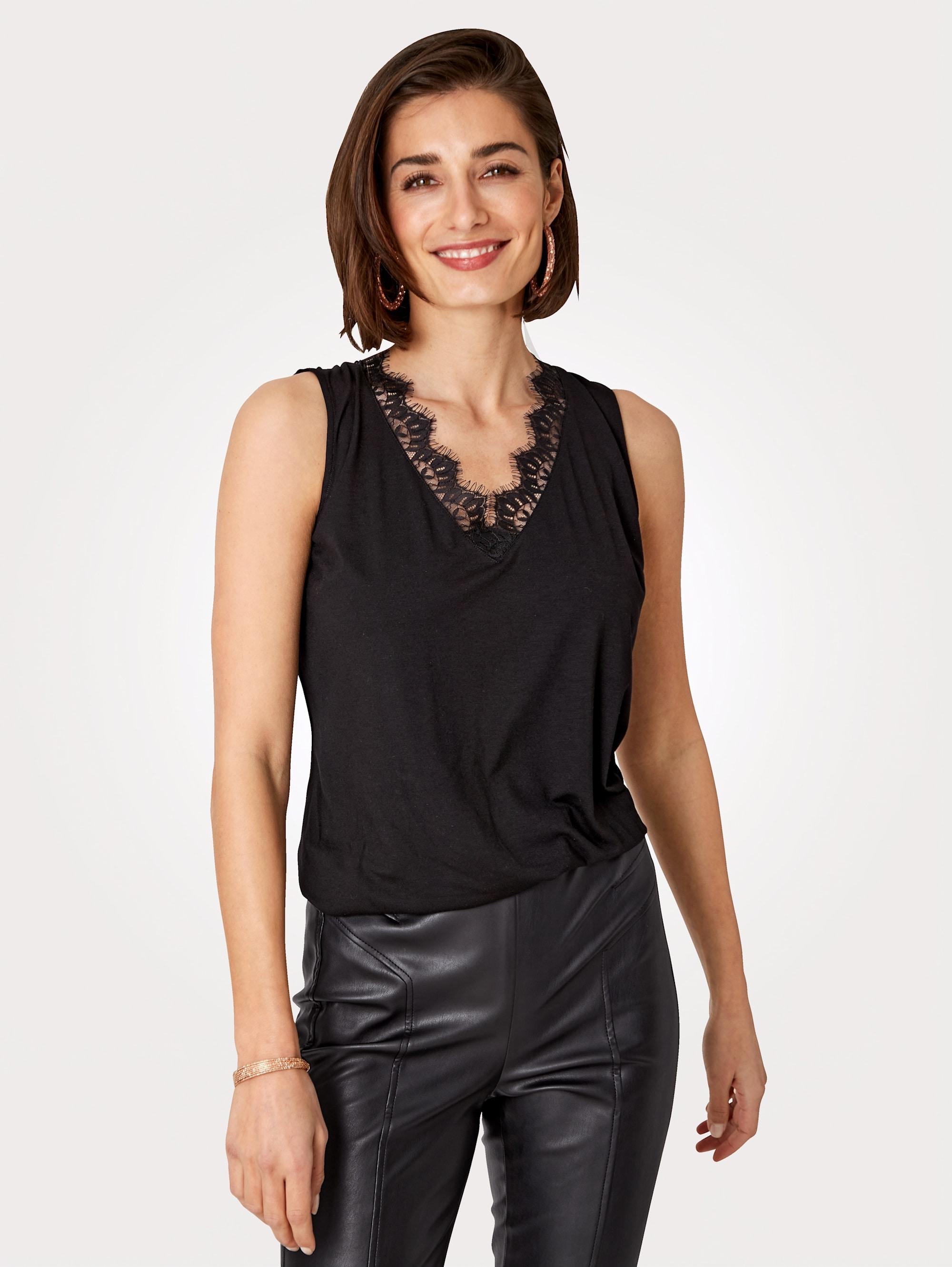 Mona Spitzentop, in Jersey-Qualität schwarz Damen Spitzentops Tops Spitzentop