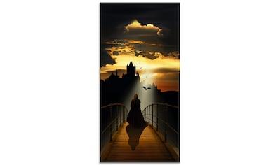 Artland Glasbild »Der Mönch auf dem Weg zur Burg«, Dark Fantasy, (1 St.) kaufen