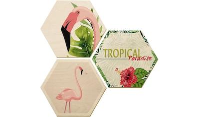 Holzbild »Flamingo 03« (Set) kaufen