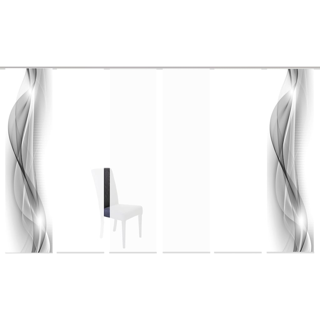 HOME WOHNIDEEN Schiebegardine »NEBLANA 6er SET«, Dekostoff-Seidenoptik, Digital bedruckt
