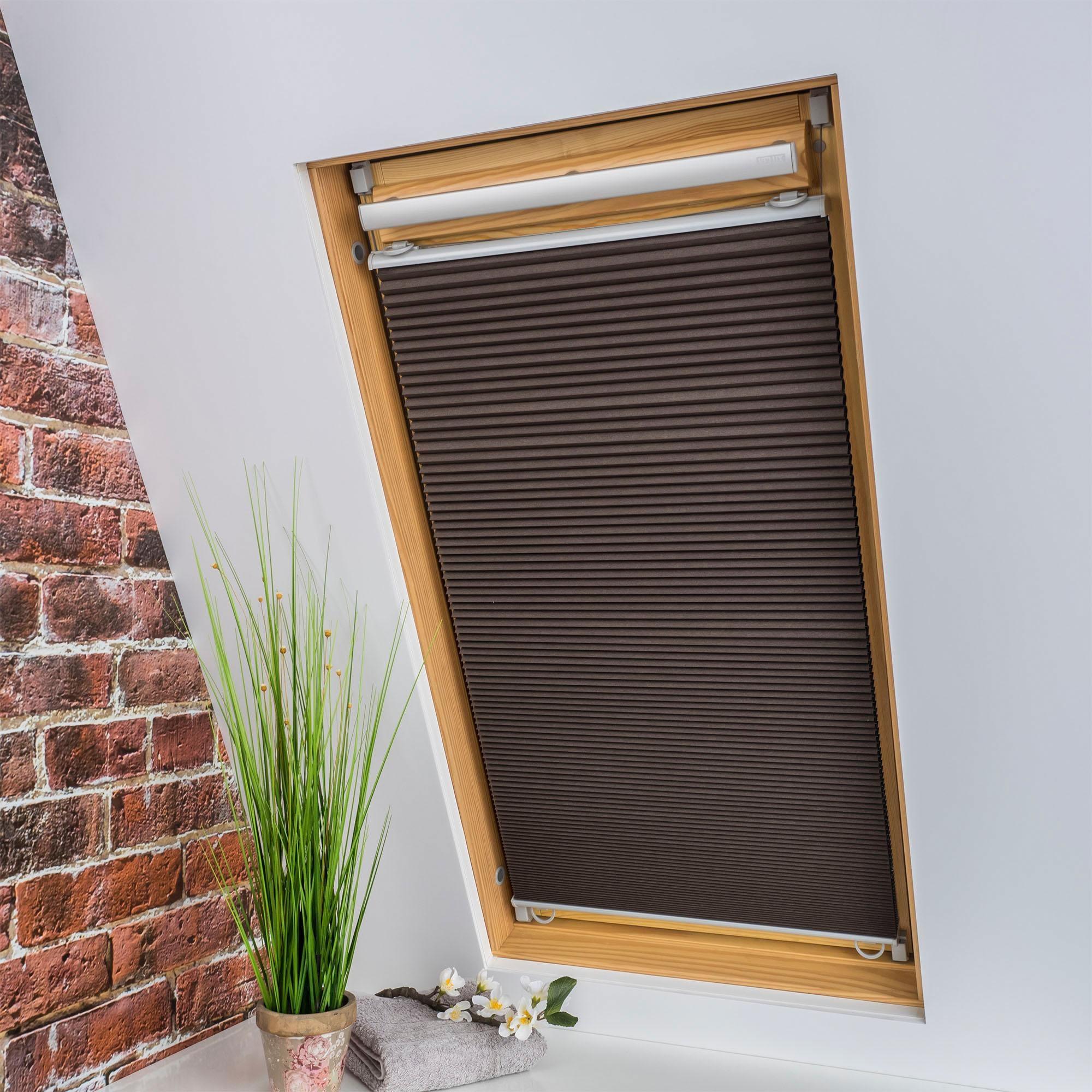 Liedeco Dachfensterplissee Universal Dachfenster-Plissee, Fixmaß braun Plissees ohne Bohren Rollos Jalousien Plissee