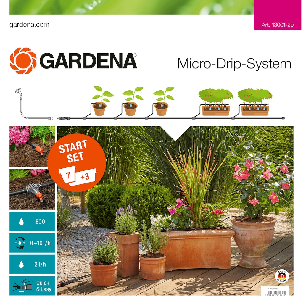 GARDENA Bewässerungssystem »Micro-Drip-System, 13001-20«, Start-Set Pflanztöpfe M