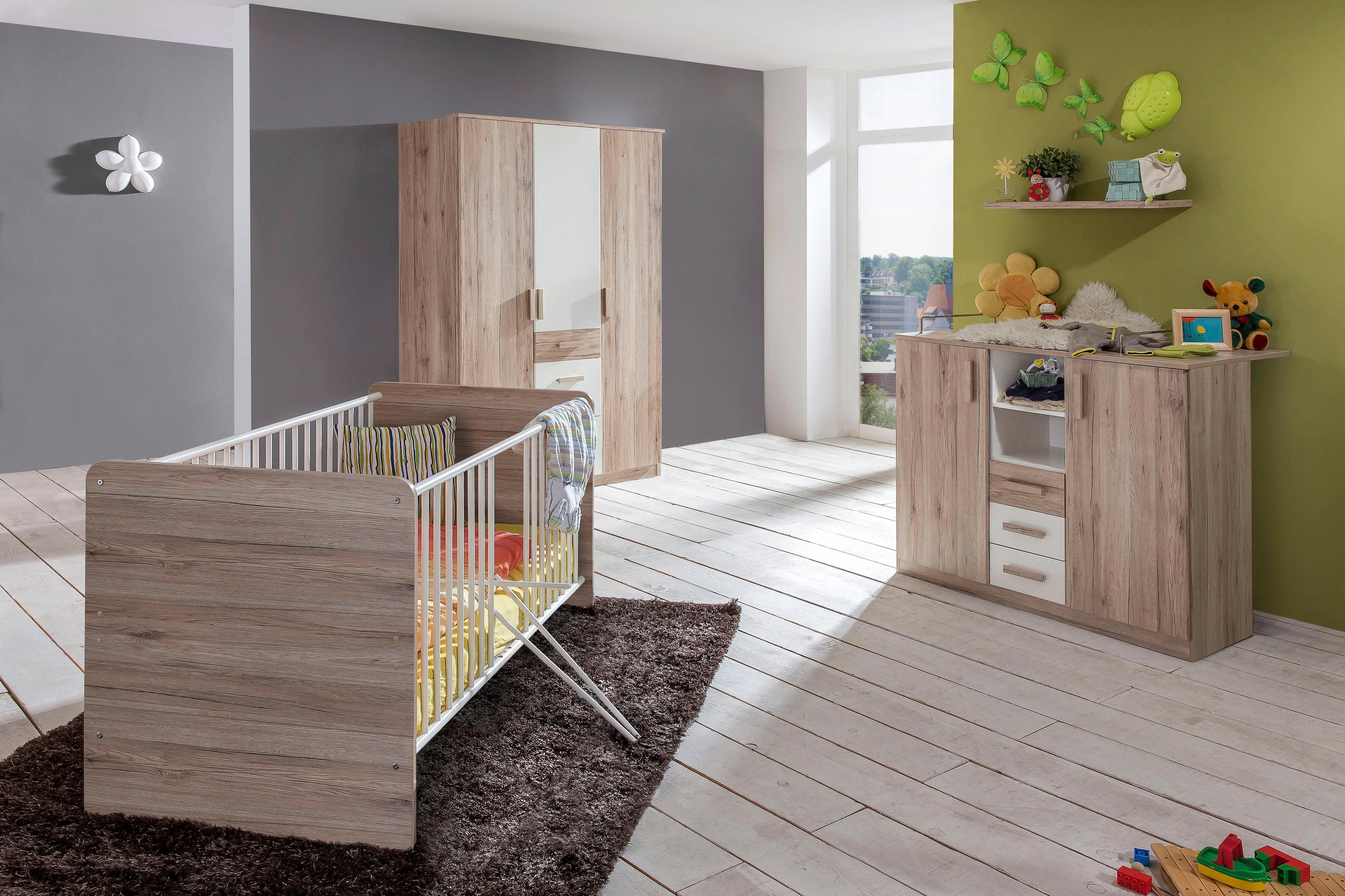 Komplett Babyzimmer Bergamo Babybett + Wickelkommode + großer Kleiderschrank (3-tlg Set) in San Remo eiche NB/ alpinweiß | Kinderzimmer > Babymöbel > Komplett-Babyzimmer | Braun | Buche - Eiche