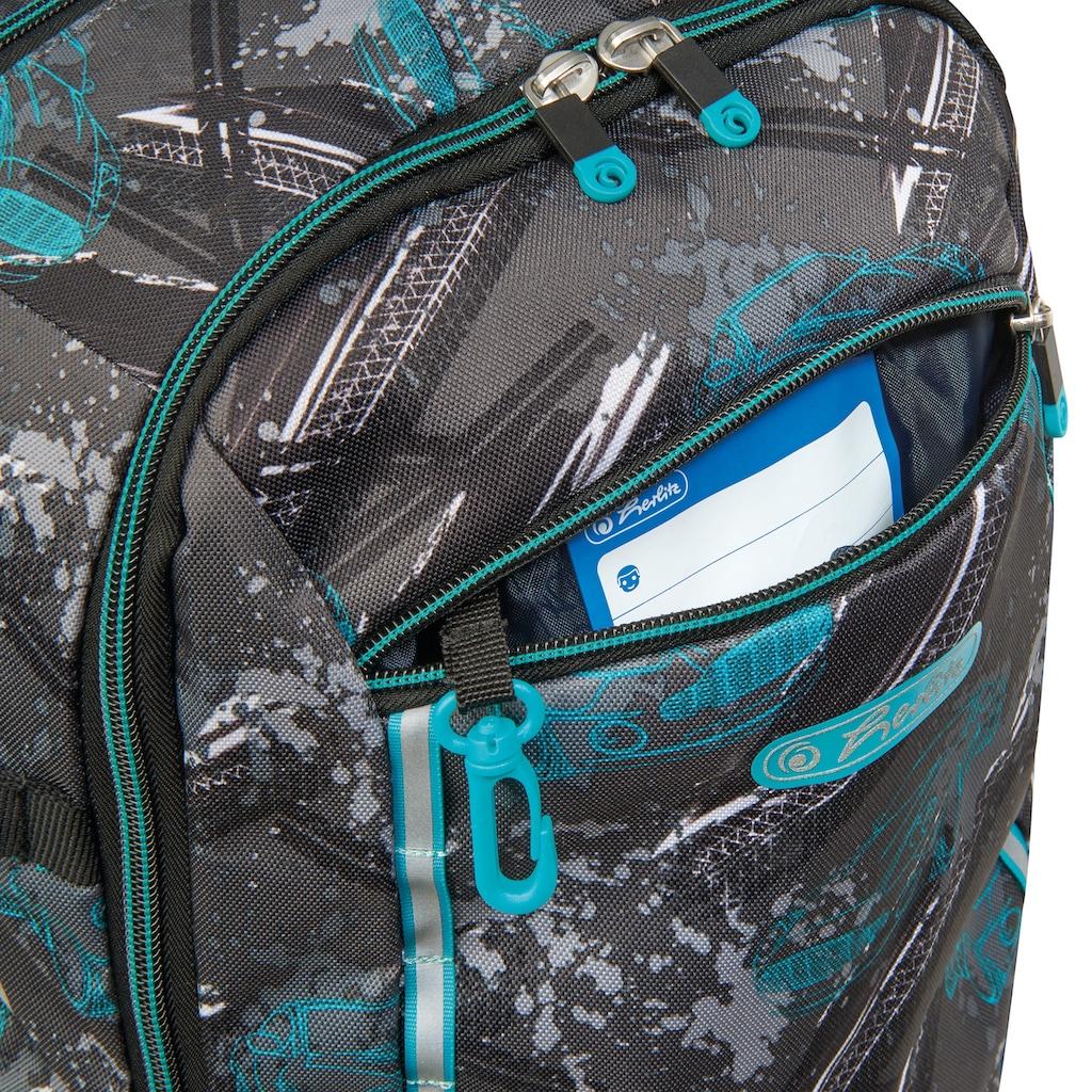 Herlitz Schulrucksack »Ultimate Race«, Floureszierende Flächen-reflektierende Streifen auf den Schultergurten, enthält recyceltes Material (Global Recycled Standard)