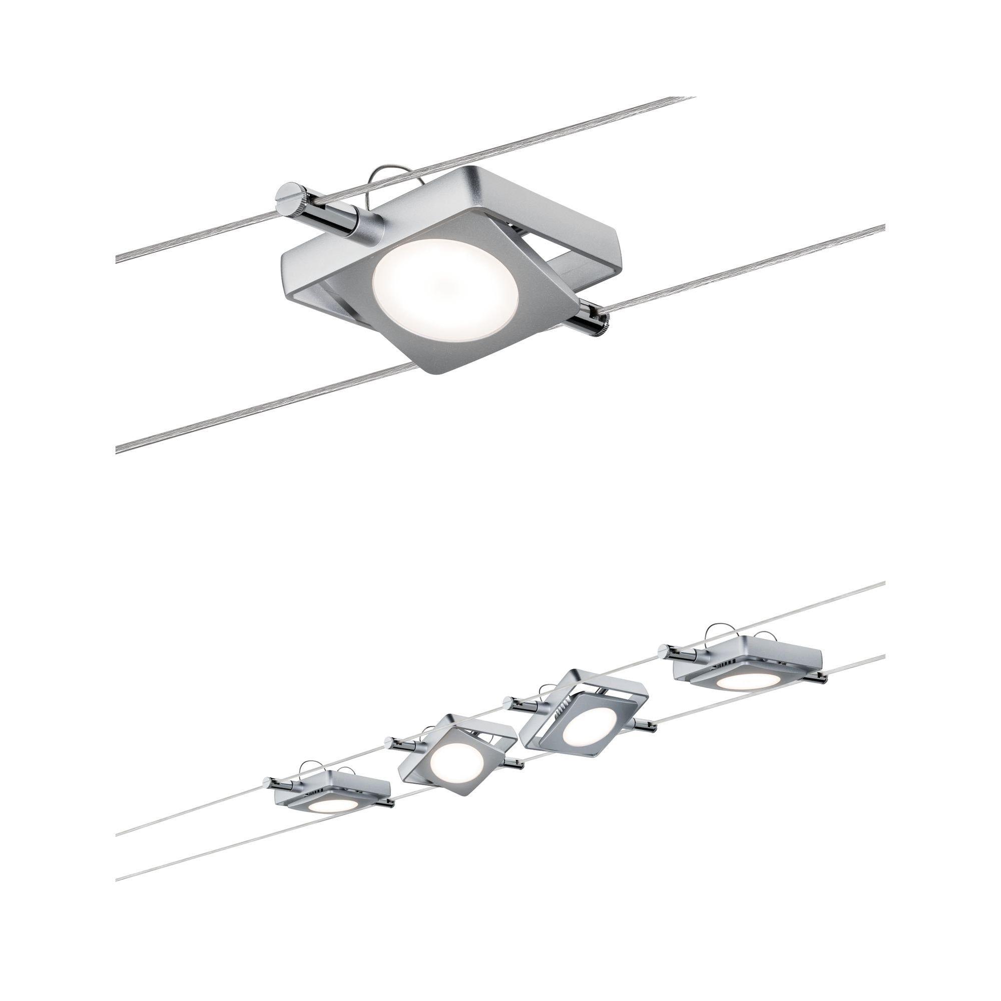 Paulmann LED Deckenleuchte Smart Seilleuchte MacLED 4x4W DC Chrom matt mit Weißlichtsteuerung, 1 St., Tageslichtweiß