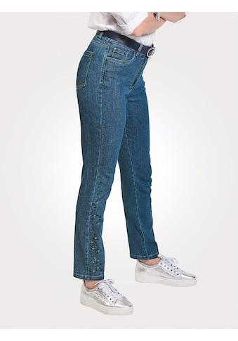 Mona 5-Pocket-Jeans, mit seitlichem Steinbesatz kaufen