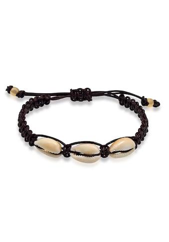 Kuzzoi Armband »Herren Kauri Muscheln Knoten Leder 925 Silber« kaufen