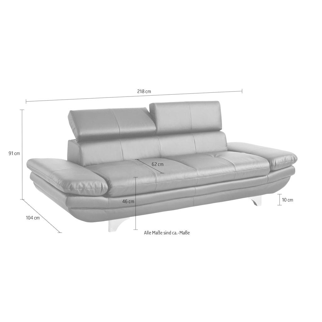 COTTA Polstergarnitur, (Set), Set: bestehend aus 2-Sitzer und Hocker, Sofa Inklusive Rückenverstellung