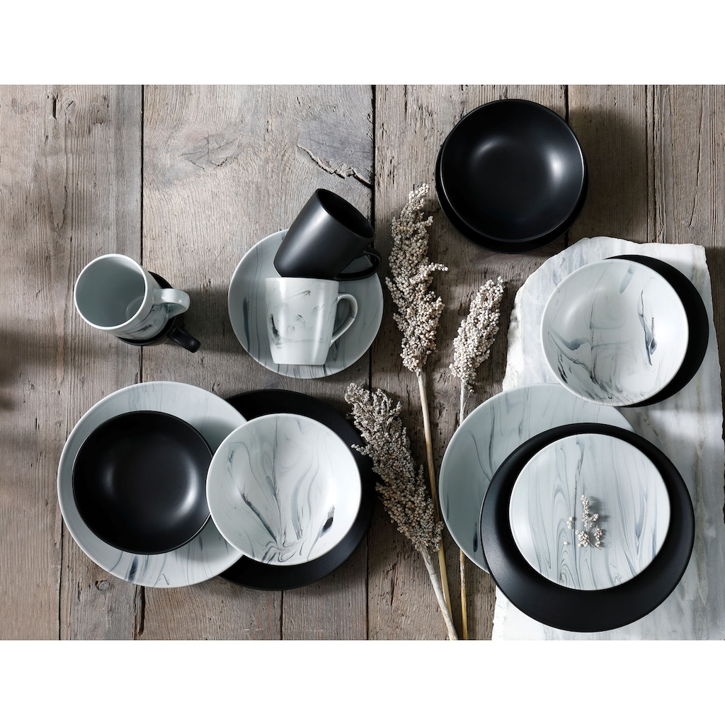 Leonique Kombiservice »Truro«, (Set, 16 tlg.), Schiefer schwarz/graue Marmor-Optik, sortiert