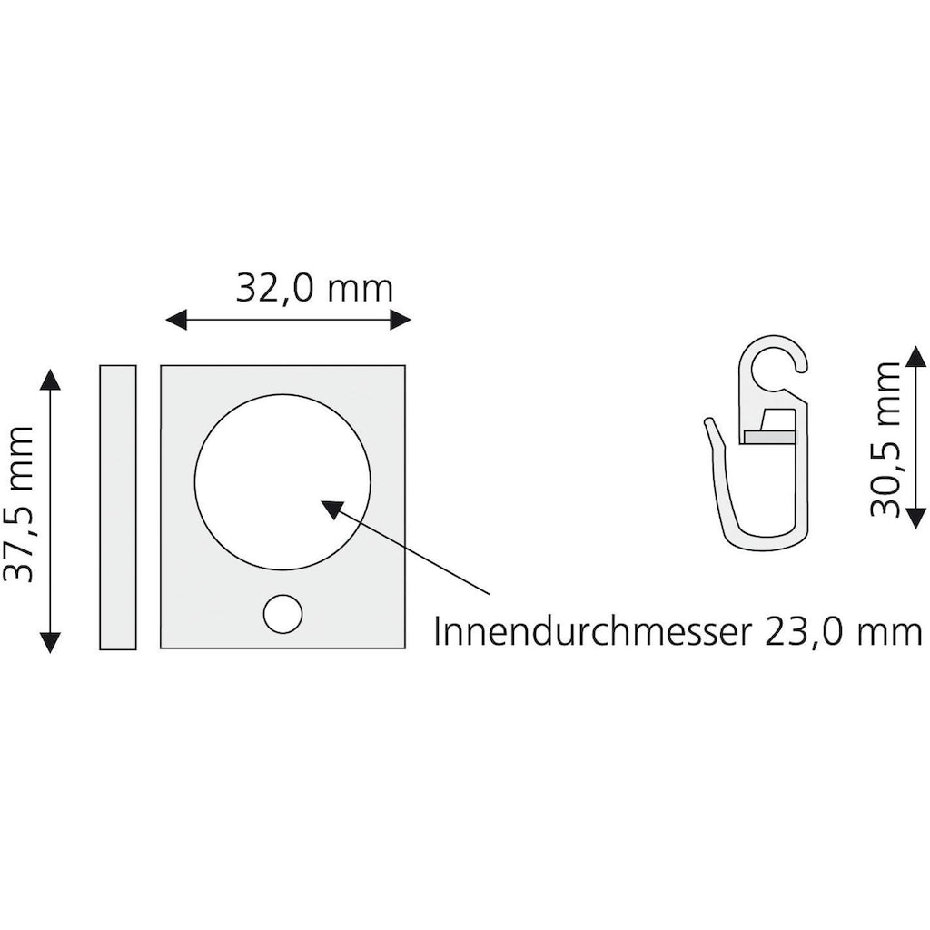 Liedeco Gardinenring, eckig, für Gardinenstangen Ø 16 mm