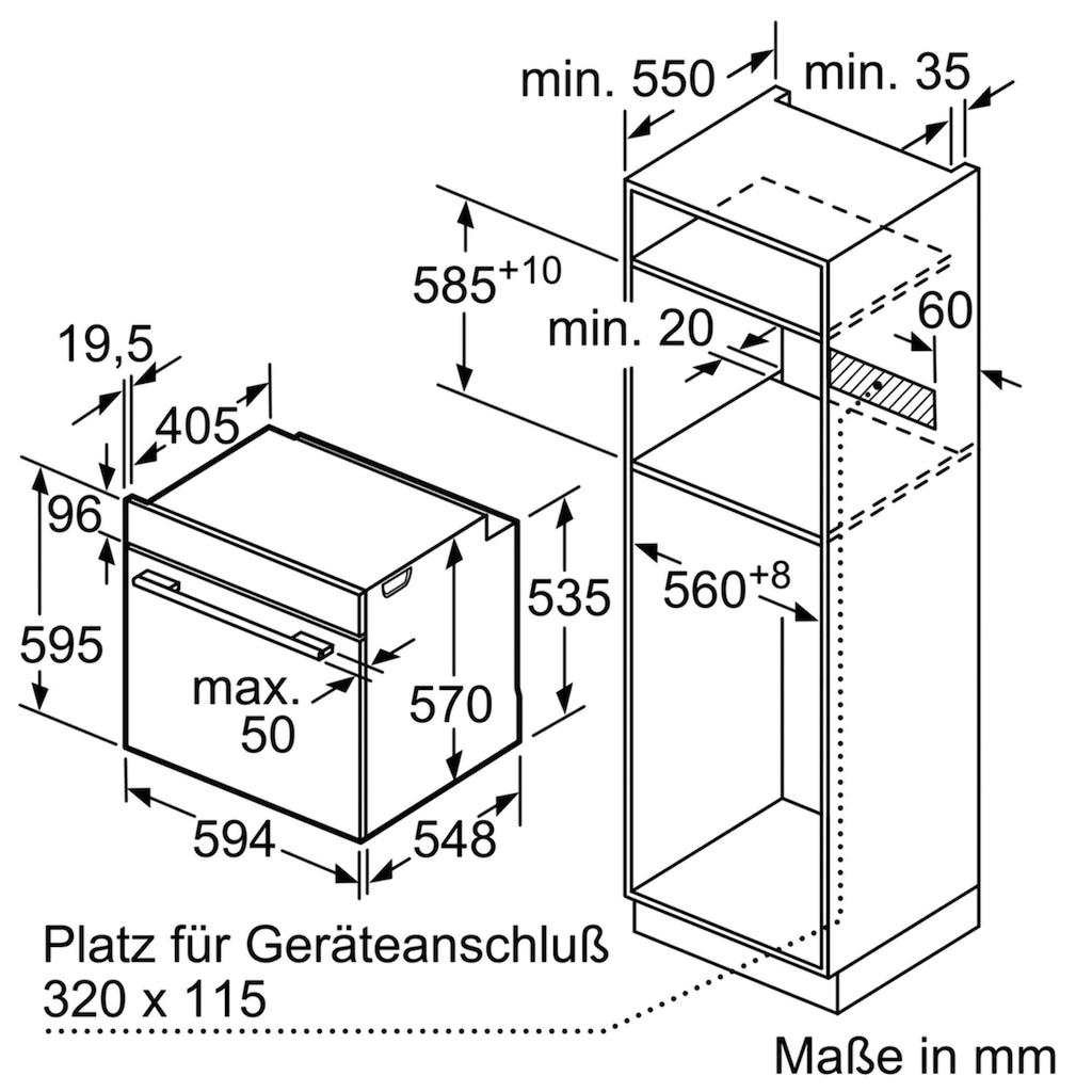 BOSCH Pyrolyse Backofen »HBA578BS0«, Serie 6, HBA578BB0, mit Teleskopauszug nachrüstbar, Pyrolyse-Selbstreinigung