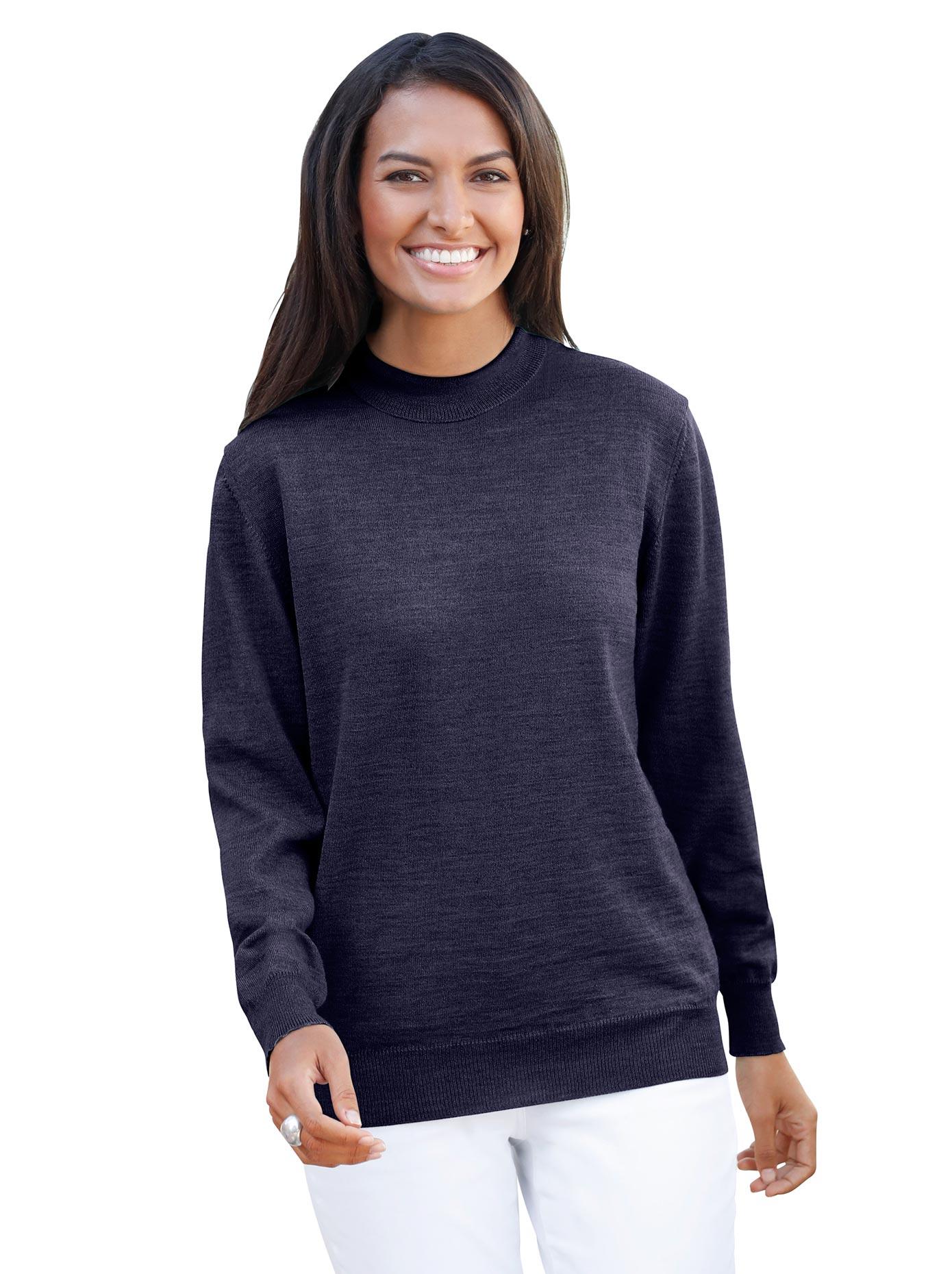 Casual Looks Stehkragen-Pullover aus hochwertiger Merino-Wolle | Bekleidung > Pullover > Stehkragenpullover | Blau | Casual Looks