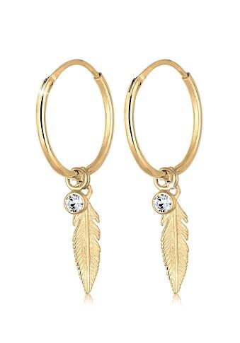 Elli Paar Creolen »Creole Feder Einhänger Kristalle 925 Silber« kaufen
