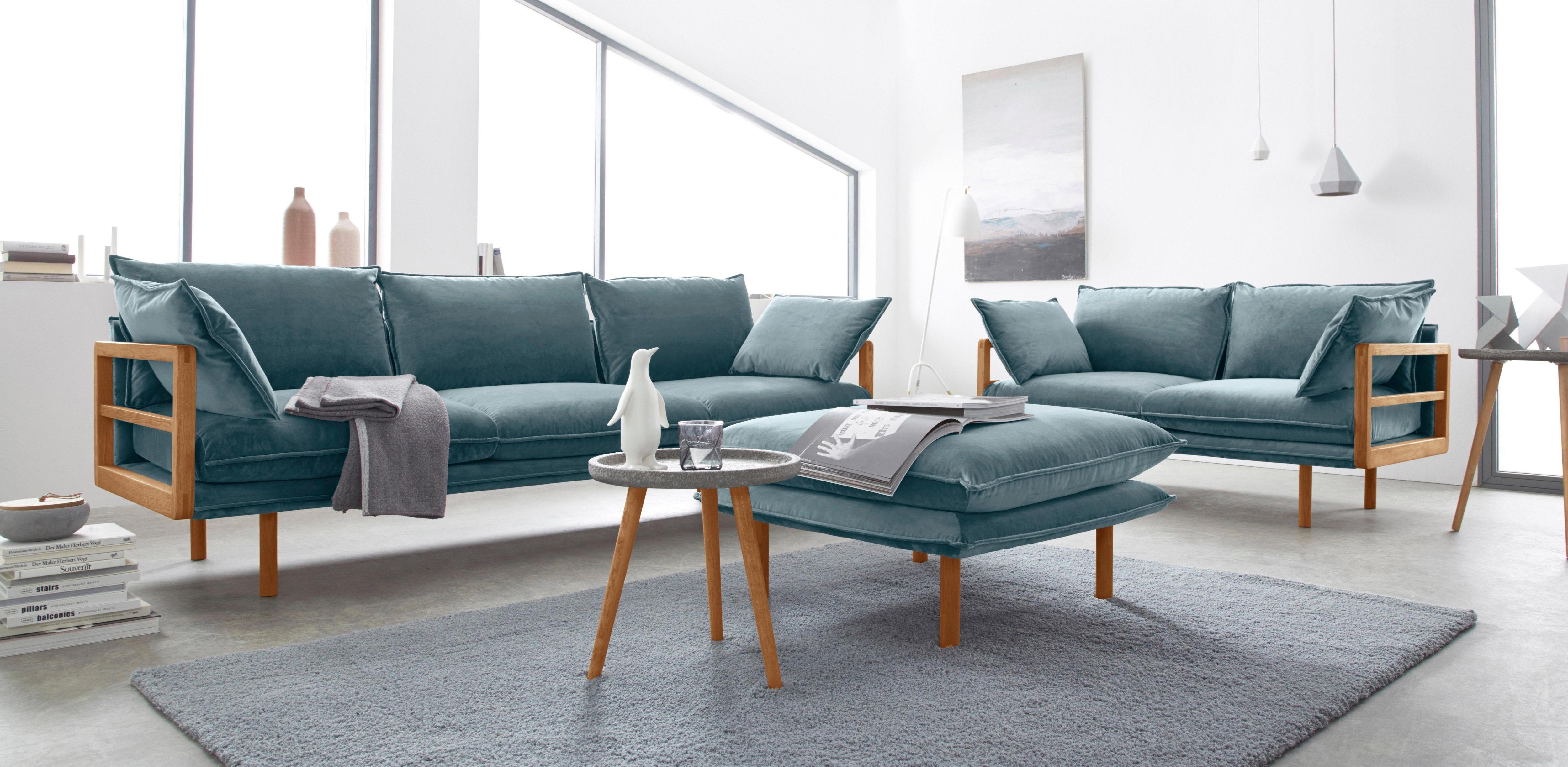 andas Purple 2- und 3-Sitzer im Set mit Eichen-Gestell in außergewöhnlichem Design | Wohnzimmer > Sofas & Couches > 2 & 3 Sitzer Sofas | Eiche | Andas