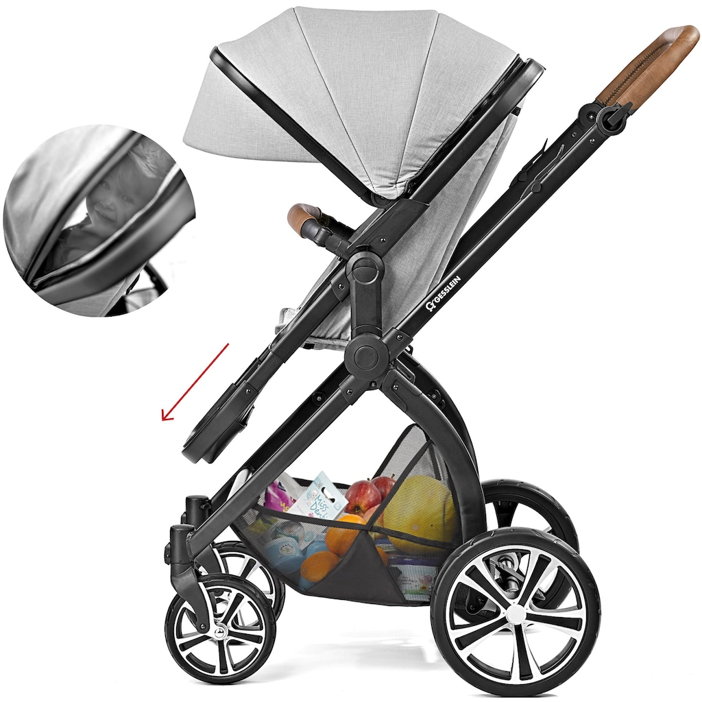 Gesslein Kombi-Kinderwagen »FX4 Life, schwarz/tabak mit Wanne CX3, mintgrün meliert/Punkte mint/silber«, Made in Germany; Kinderwagen