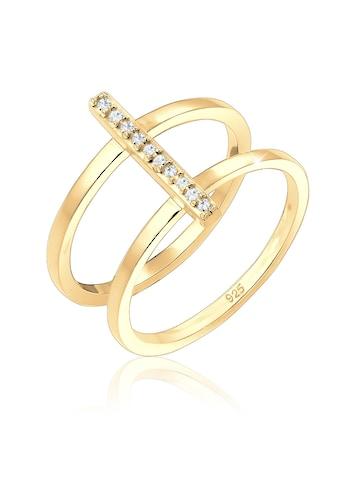 Elli Fingerring »Doppelring Geo Swarovski® Kristalle 925er Silber« kaufen