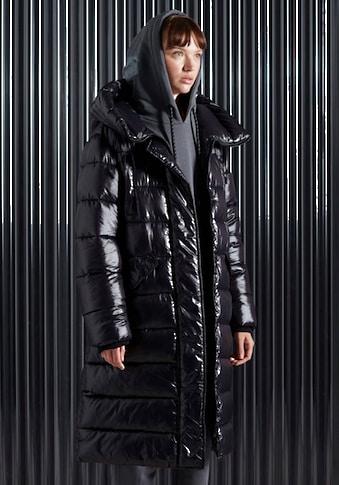 Superdry Winterjacke »HIGH SHINE DUVET COAT«, Steppmantel mit warmem Stehkragen und Kapuze in glänzendem Design kaufen