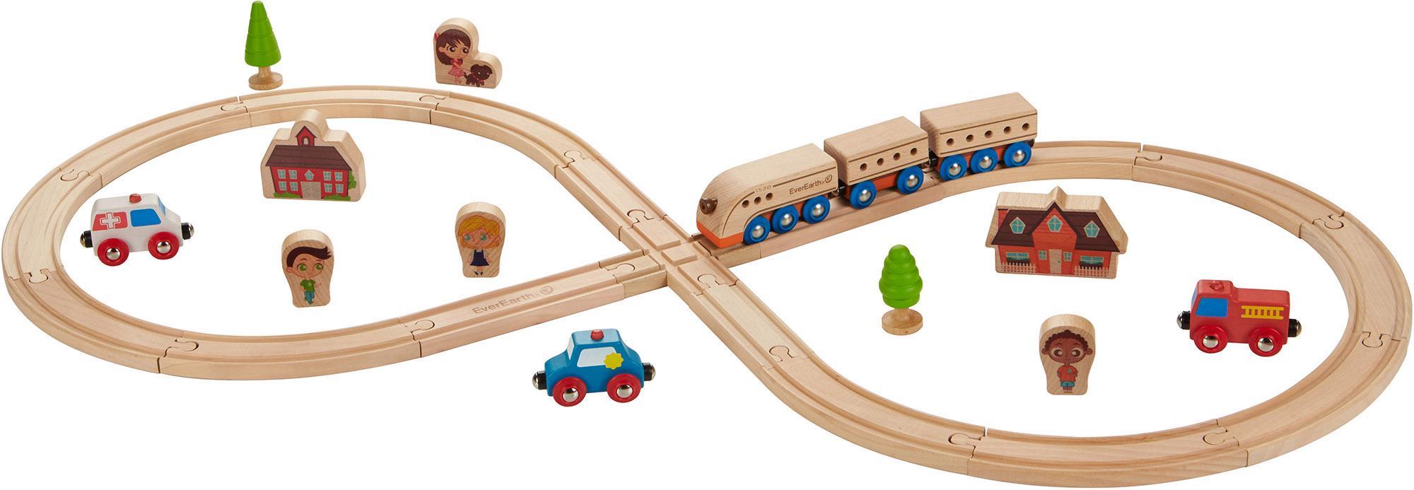 EverEarth® Holzspielzeug, 32-tlg., »Eisenbahn-Set«