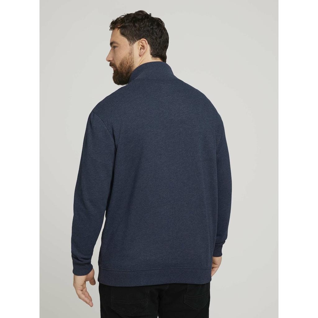 TOM TAILOR Men Plus Longsweatshirt »Sweatjacke mit Stehkragen«