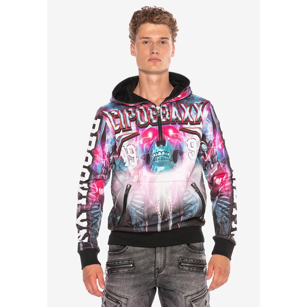 Cipo & Baxx Kapuzensweatshirt, mit auffälligem Allover-Printdesign