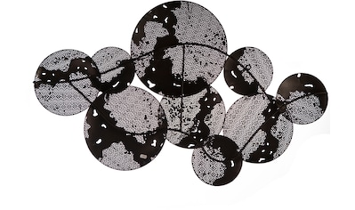 Casablanca by Gilde Wanddekoobjekt »Wandrelief Galaxy«, Wanddeko, aus Metall, handgearbeitet, bestehend aus 9 runden Scheiben, Wohnzimmer kaufen