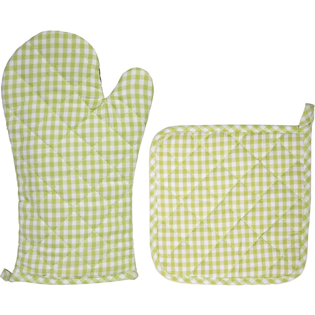 stuco Topfhandschuhe »Lederhos´n«, (Set, 4 tlg., bestehend aus 2x Ofenhandschuh, 2x Topflappen)