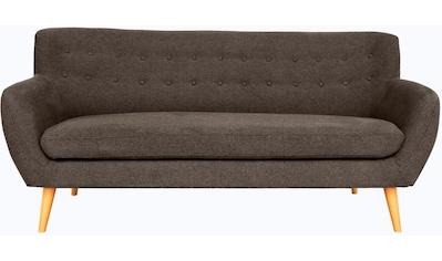 Home affaire 3-Sitzer »Noris«, mit Zierknopfheftung im Rücken, skandinavischer Stil, Holzfüße kaufen