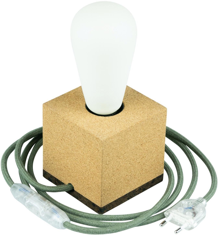 SEGULA Tischleuchte Tischlampe Korkwürfel, 2m Textilkabel grün, E27, Mit Schalter
