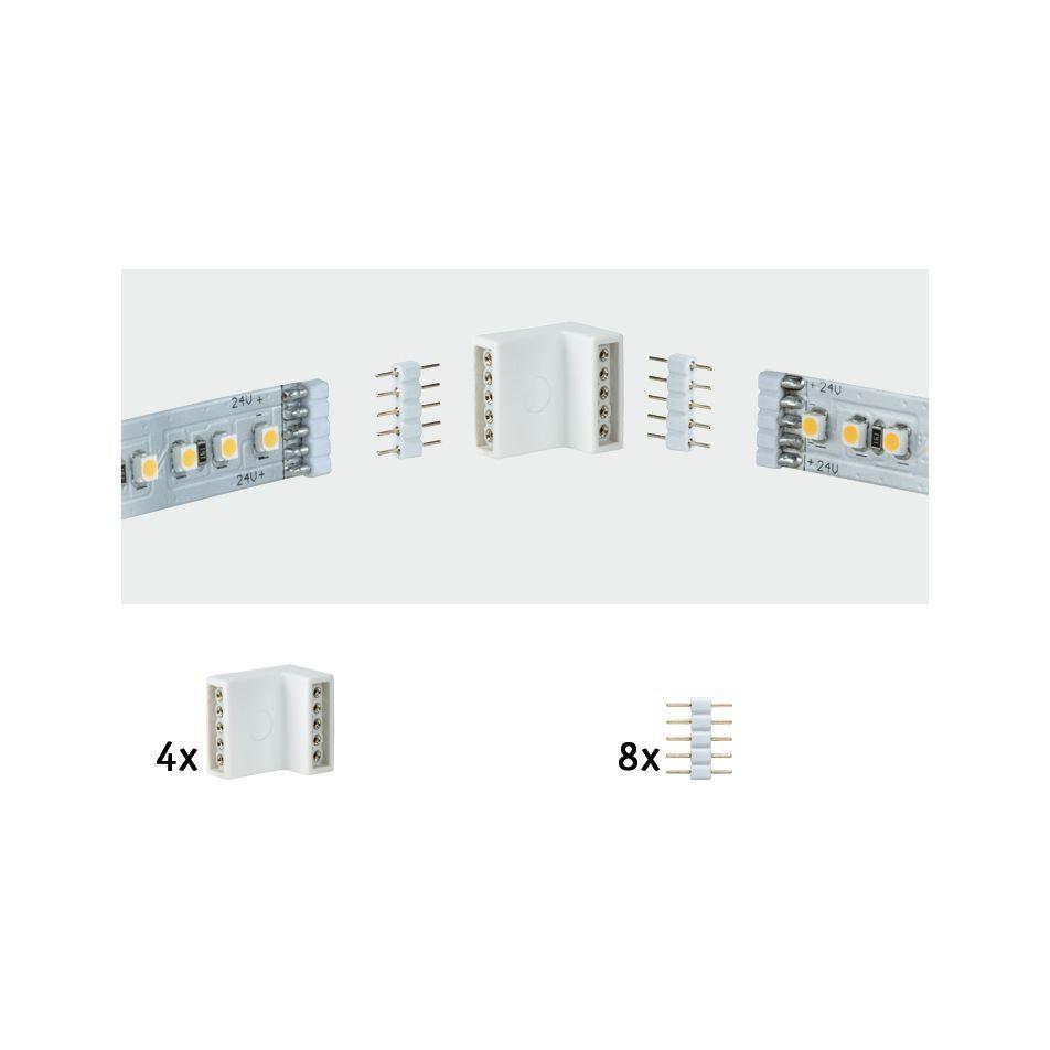 Paulmann LED-Streifen MaxLED Eckverbinder Weiß 4er-Pack inkl. 8 Steckverbinder, weiß
